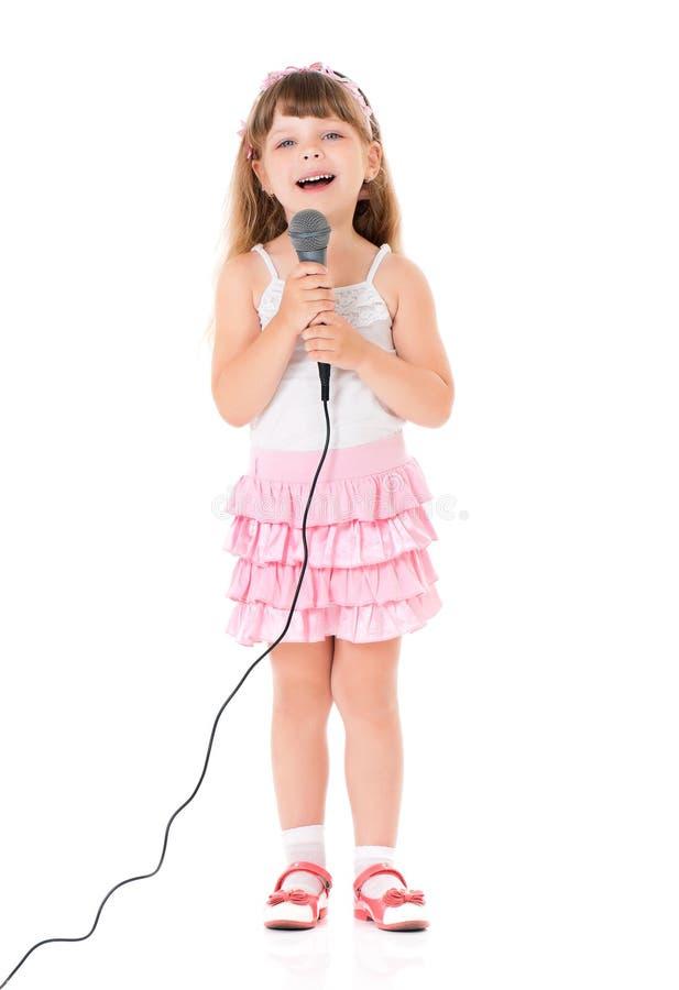 Meisje met microfoon royalty-vrije stock foto's