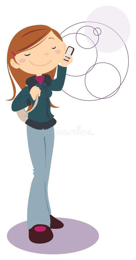 Meisje met mobiele telefoon royalty-vrije illustratie