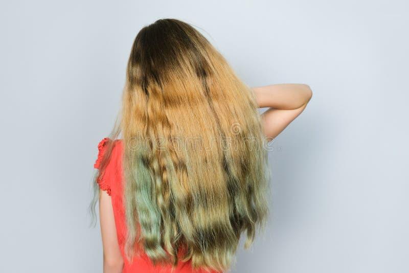 Meisje met mooi dik krullend haar die zich over grijze achtergrond bevinden stock foto