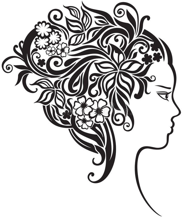 Meisje met mooie bloemen in haar haar vector illustratie