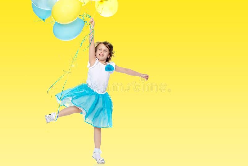 Meisje met multicolored ballons royalty-vrije stock foto's