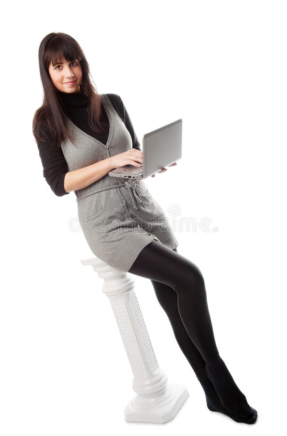 Download Meisje met netbook stock foto. Afbeelding bestaande uit haar - 10782578