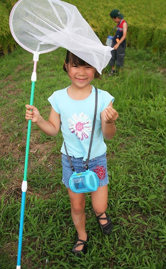 Meisje met netto vlinder royalty-vrije stock foto