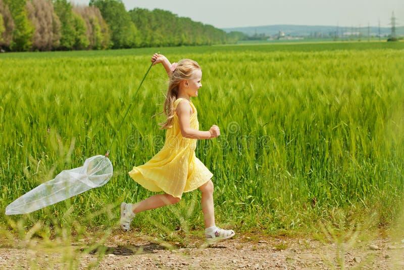 Meisje met netto vlinder hebbend pret royalty-vrije stock foto