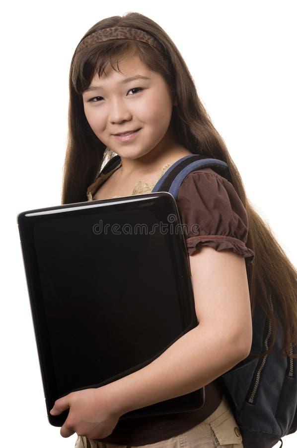 Meisje met notitieboekje stock afbeelding