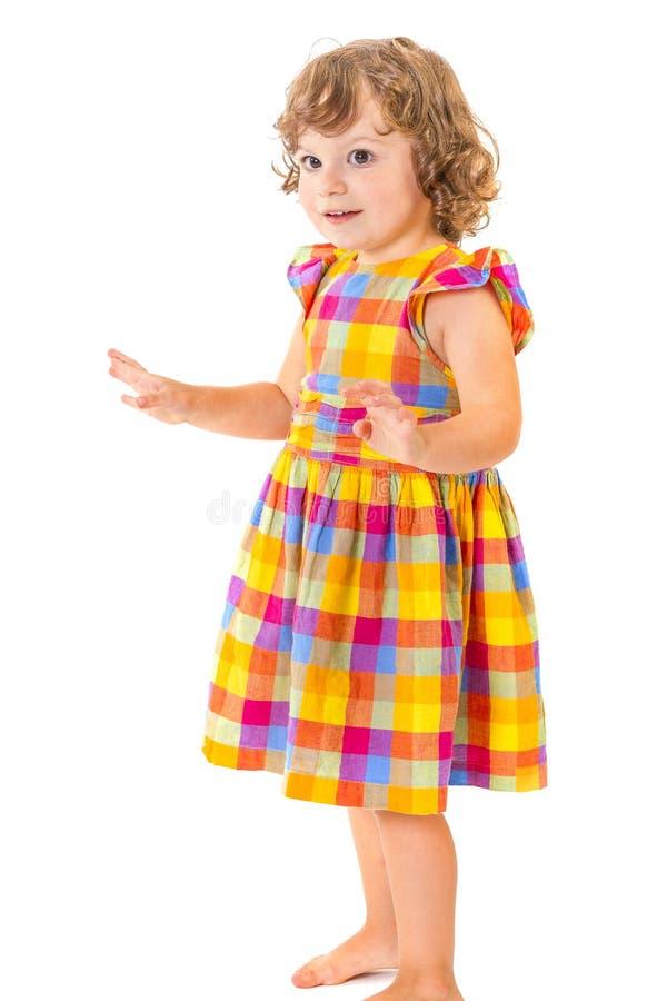 Meisje met omhoog handen stock afbeeldingen