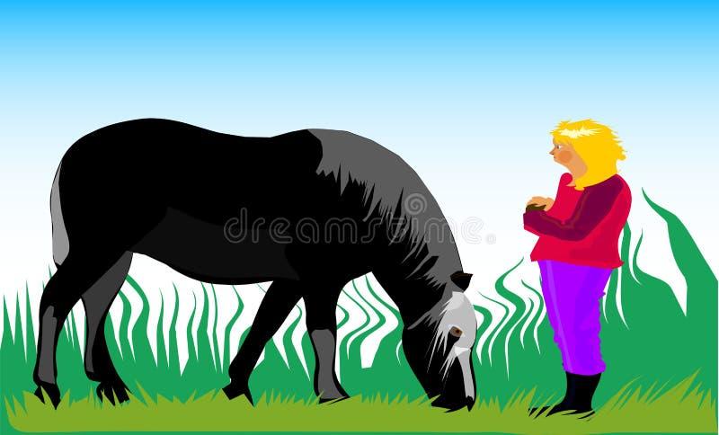 Meisje met paard royalty-vrije stock afbeelding