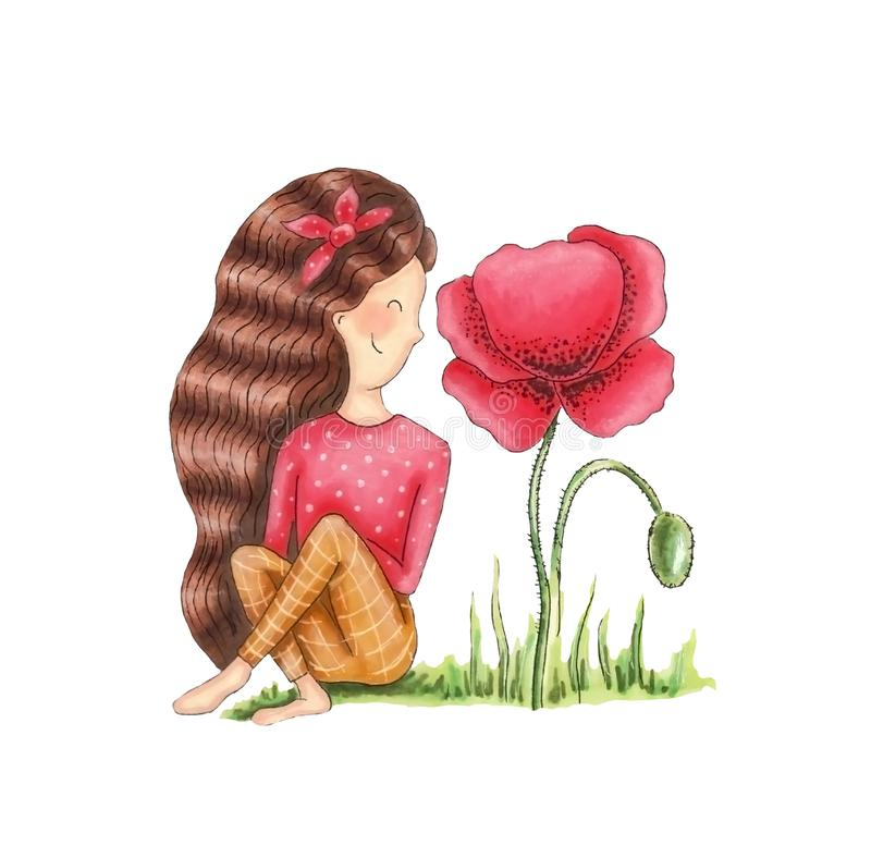 Meisje met papaver vector illustratie