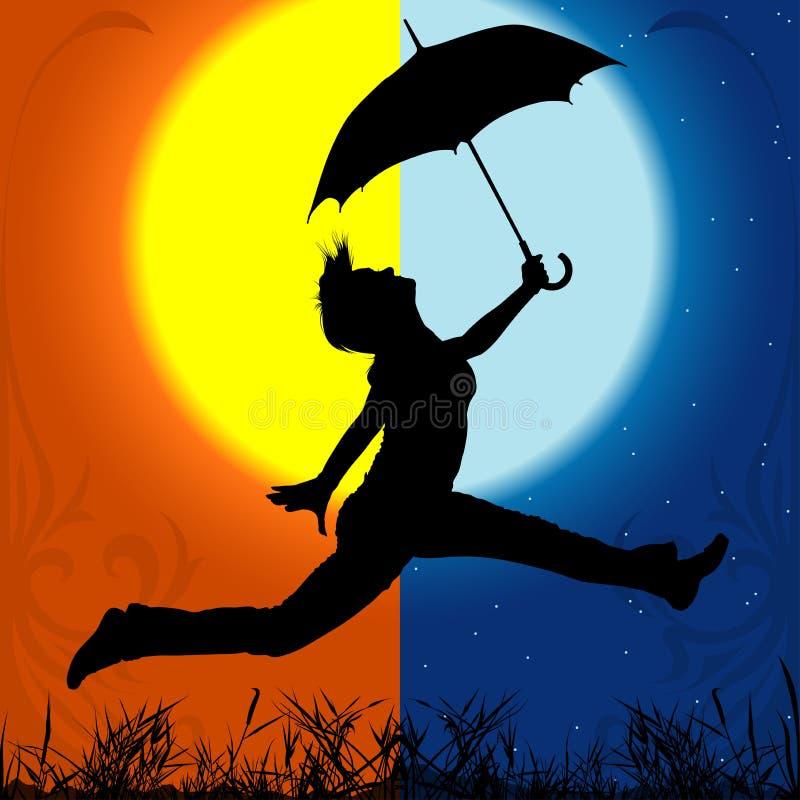 Meisje met Paraplu - Dag en Nacht stock illustratie