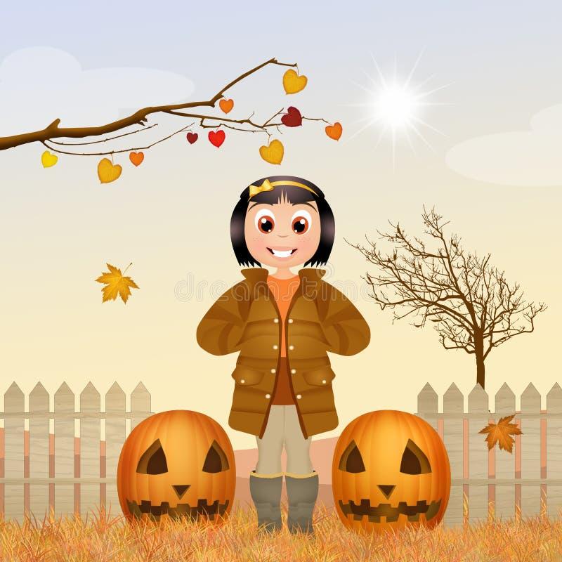 Meisje met pompoenen in de herfst royalty-vrije illustratie