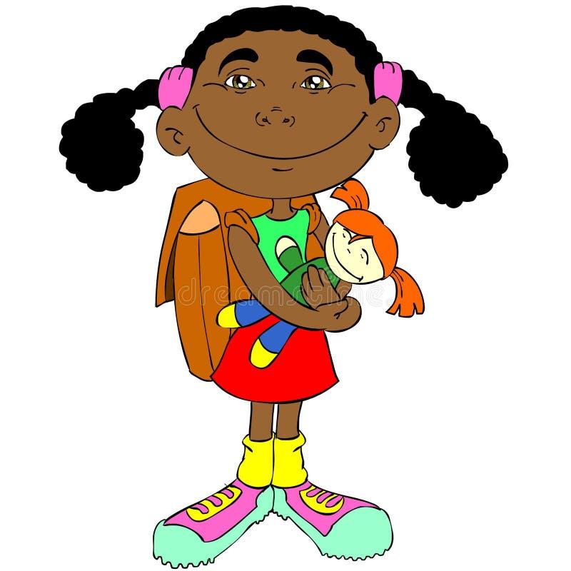 Meisje met pop stock illustratie