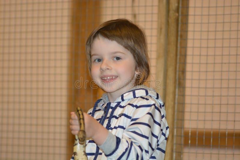 Meisje met python in haar handen stock fotografie