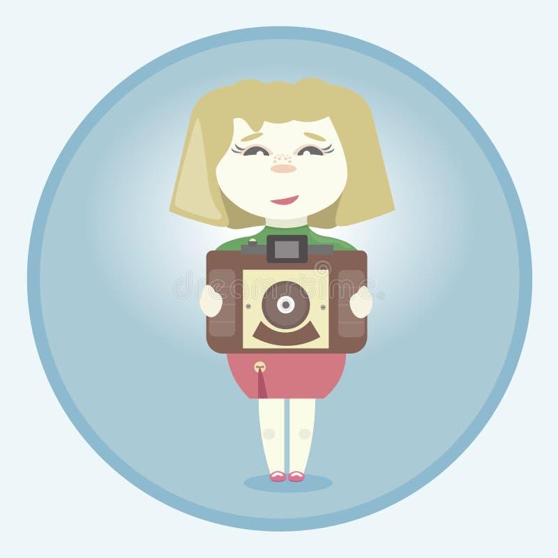 Meisje met retro camera stock illustratie
