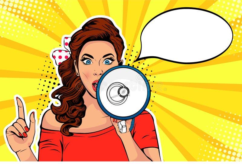 Meisje met retro vectorillustratie van het megafoonpop-art Vrouw met luidspreker Vrouwelijke het aankondigen korting of verkoop stock illustratie