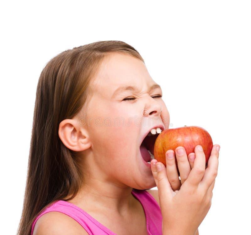 Meisje met rode appel royalty-vrije stock afbeeldingen