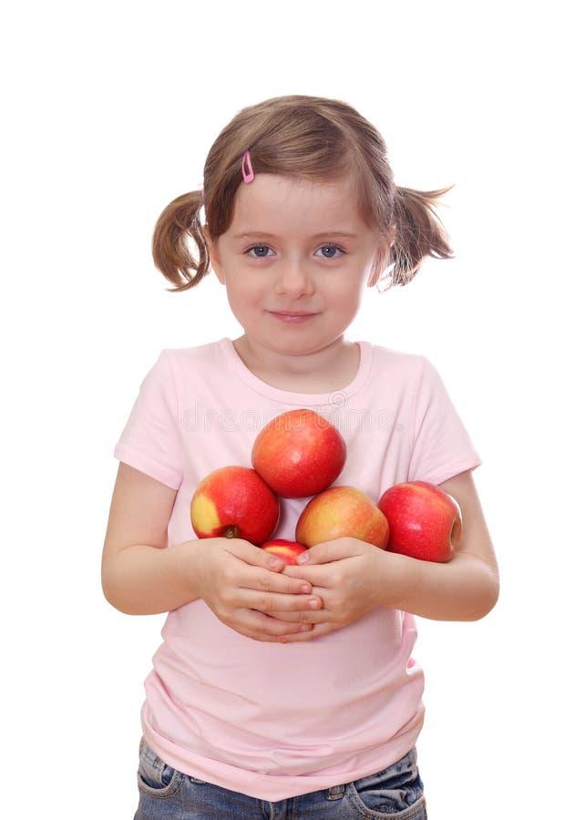 Meisje met rode appelen royalty-vrije stock afbeeldingen