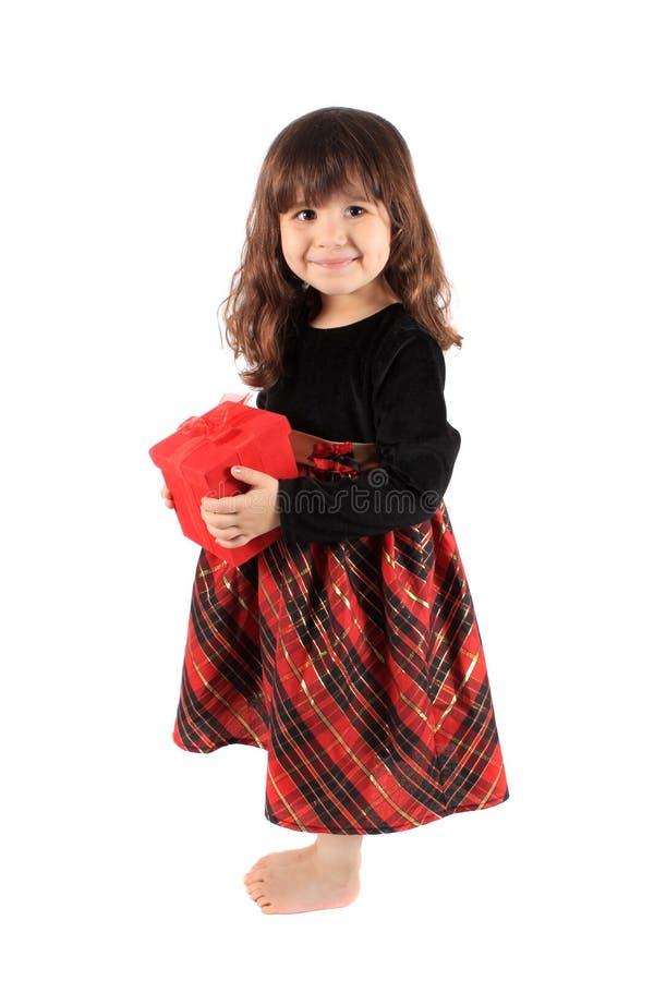Meisje met rode giftdoos stock foto's