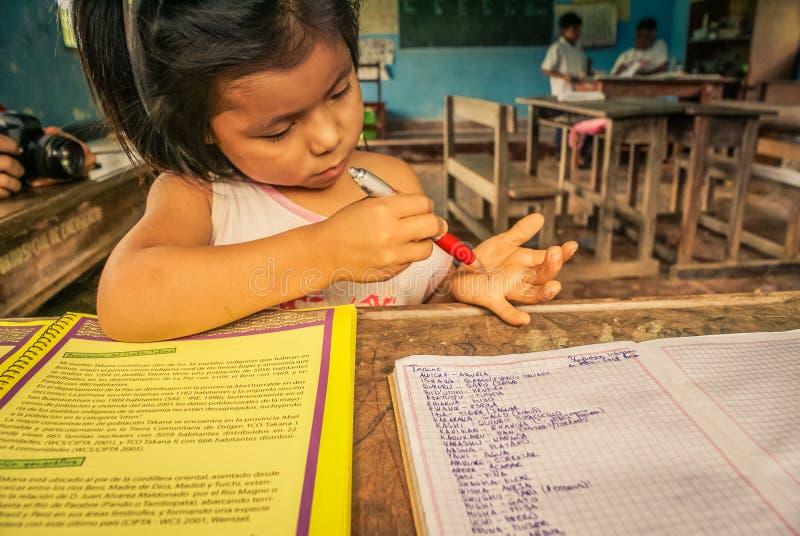 Meisje met rode pen in Bolivië royalty-vrije stock foto's