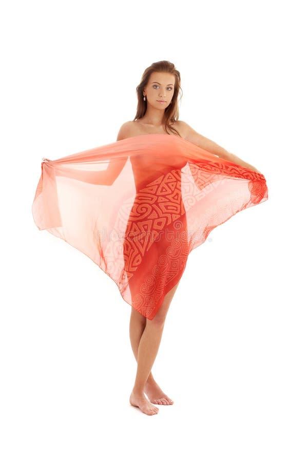 Meisje met rode sarongen #2 royalty-vrije stock afbeeldingen