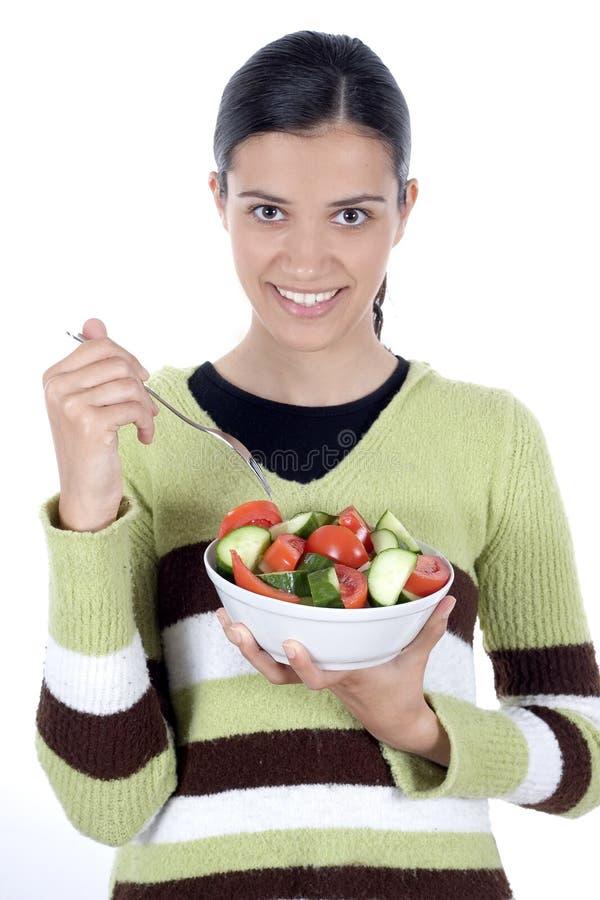 Meisje met salade royalty-vrije stock foto's