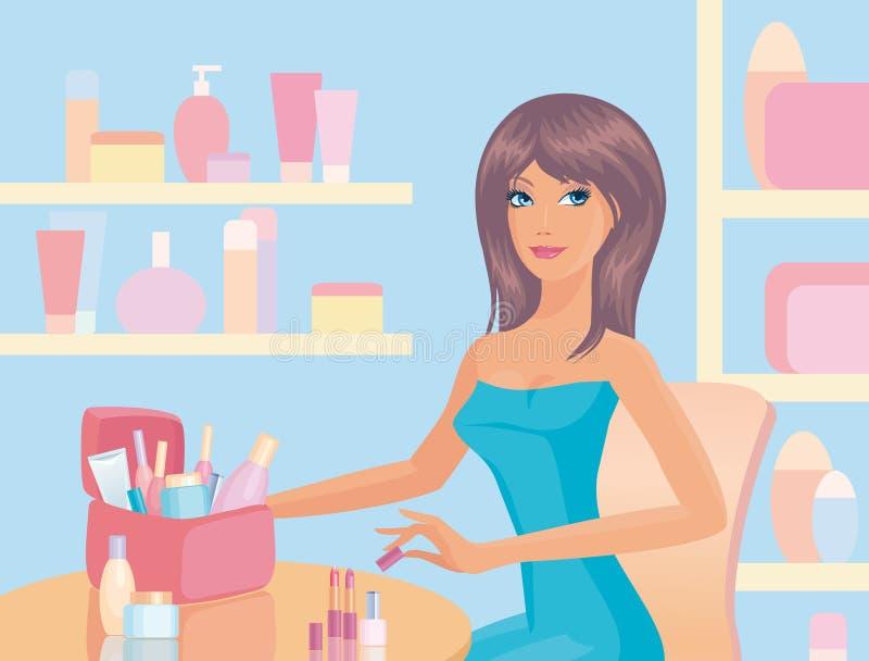 Meisje met schoonheidsmiddelen royalty-vrije illustratie