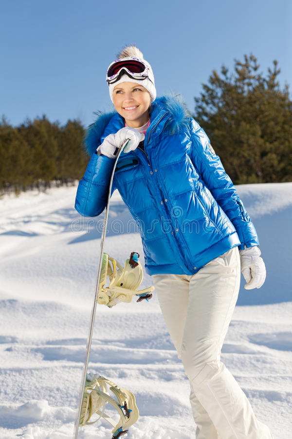 Meisje met snowboard royalty-vrije stock fotografie