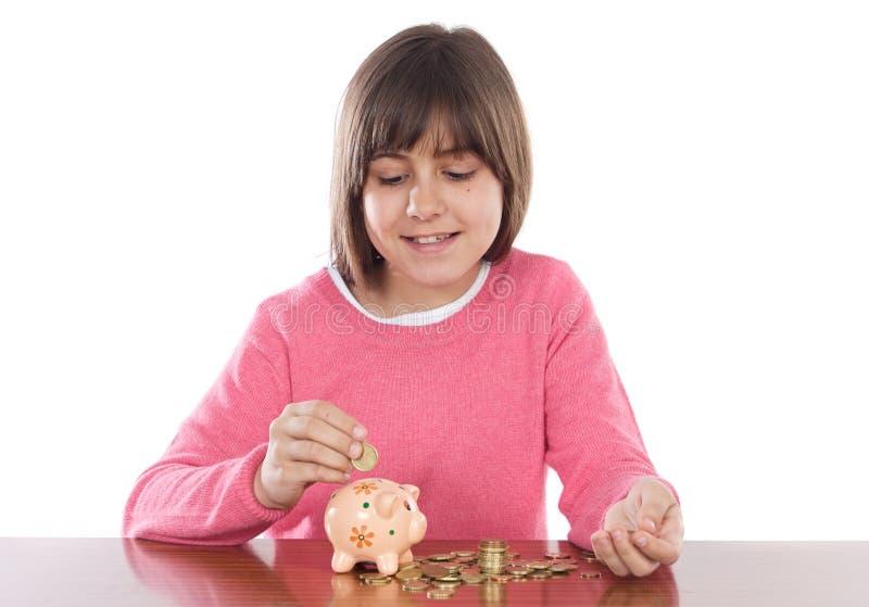 Meisje met spaarpot royalty-vrije stock foto