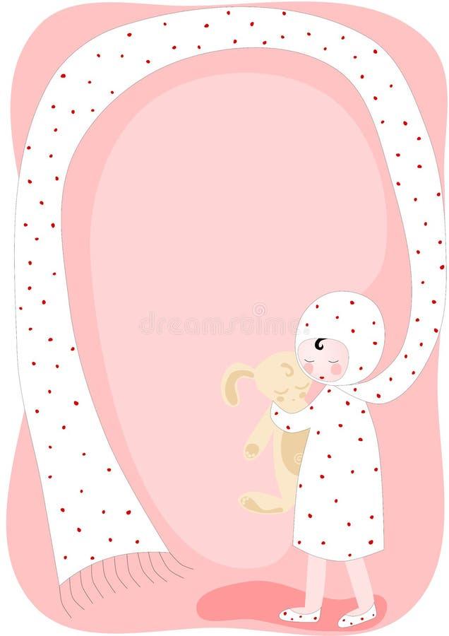 Meisje met stuk speelgoed konijn en de kaart van de sjaaluitnodiging stock illustratie