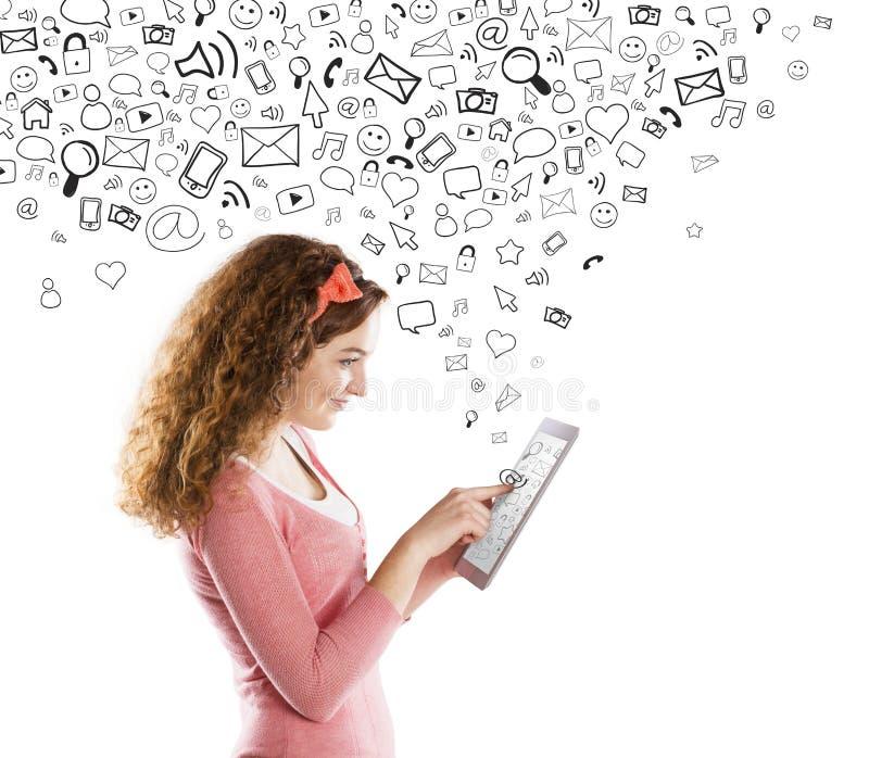 Meisje met tablet royalty-vrije stock foto's