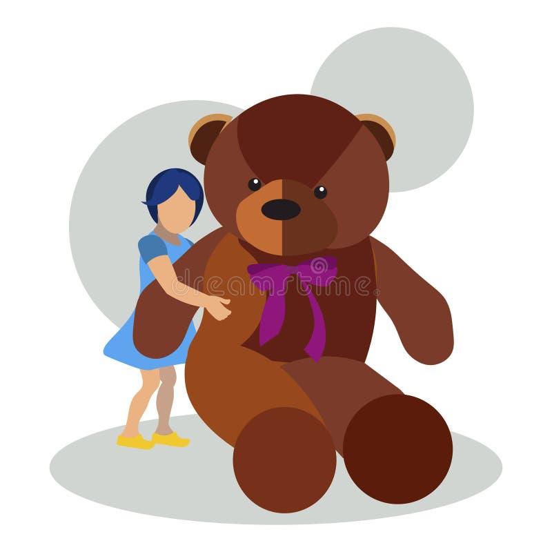 Meisje met teddybeerstuk speelgoed vector vlakke illustratie royalty-vrije illustratie