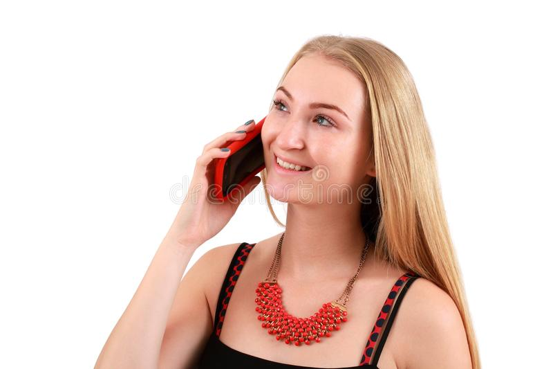 Meisje met telefoon stock afbeeldingen
