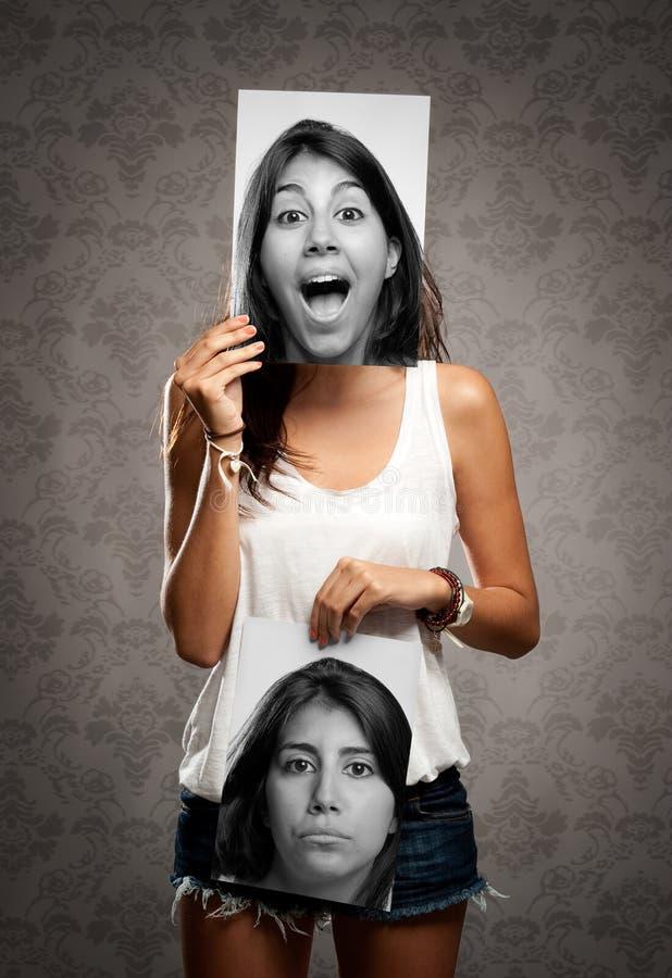 Meisje met twee gezichten stock afbeelding
