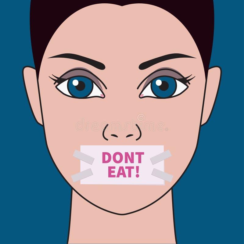 Meisje met vastgebonden mond stock illustratie