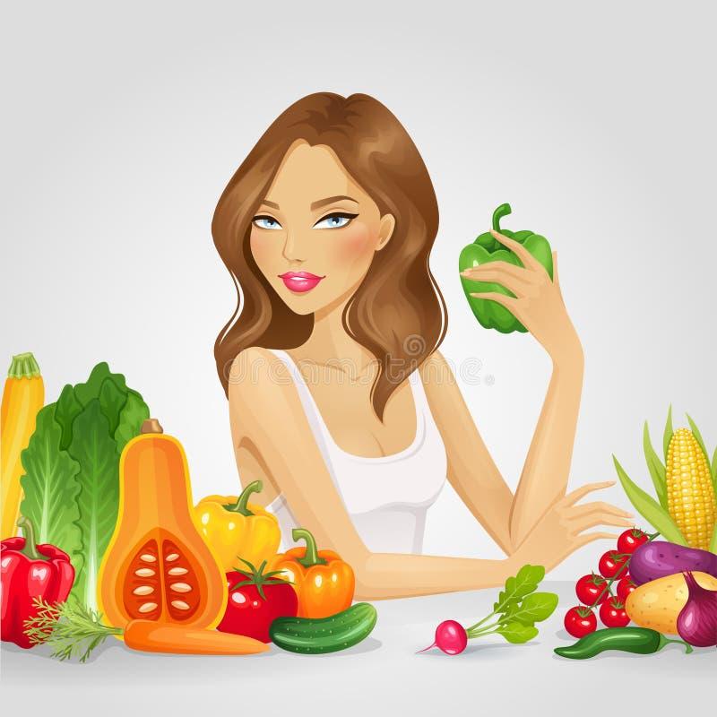 Meisje met verse groenten vector illustratie