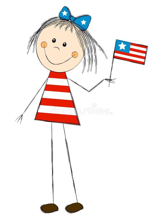 Meisje met vlag royalty-vrije illustratie