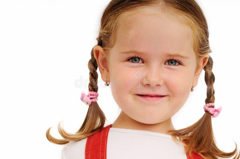 Meisje met vlechtenportret royalty-vrije stock afbeeldingen