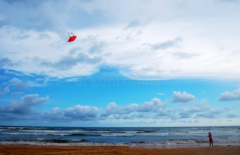 Meisje met vlieger op het strand stock afbeeldingen