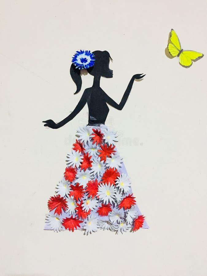 Meisje met vlinders royalty-vrije stock afbeelding