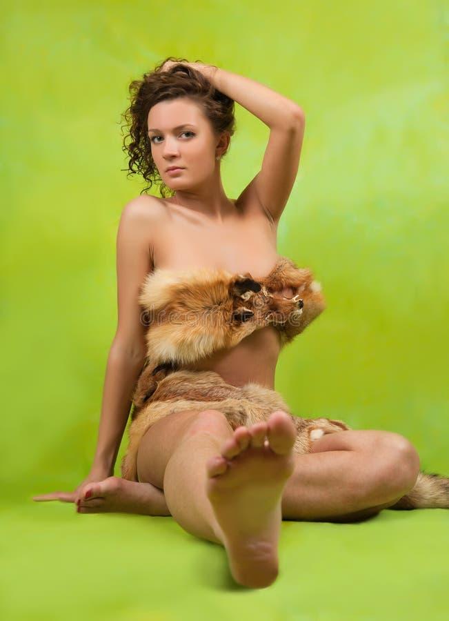 Meisje met vosbont royalty-vrije stock afbeelding