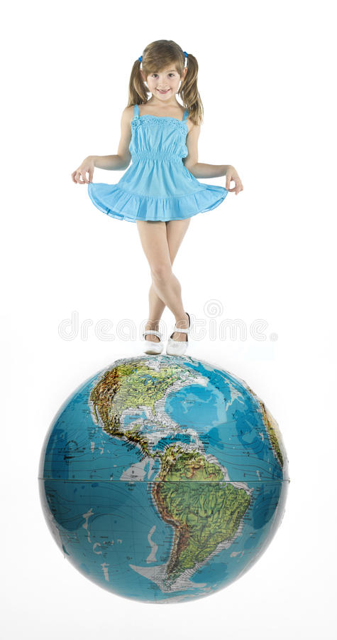 Meisje met wereld stock foto