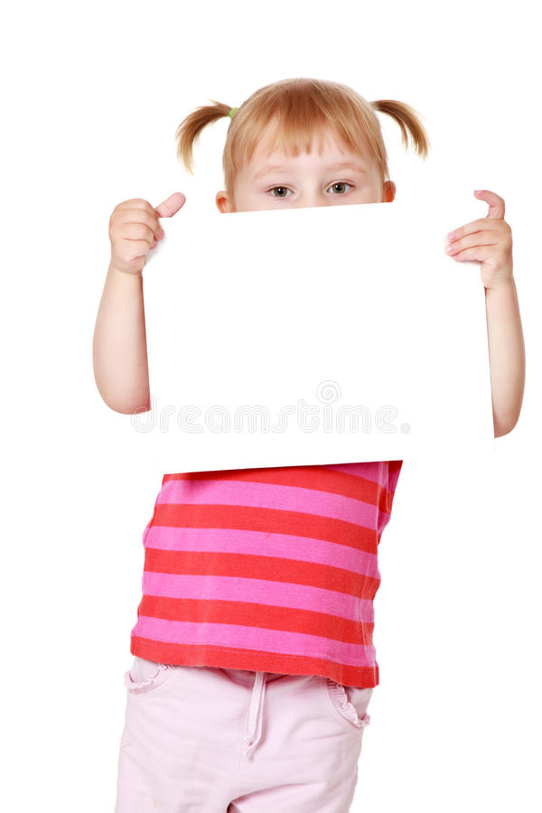 Meisje met witte raad stock foto