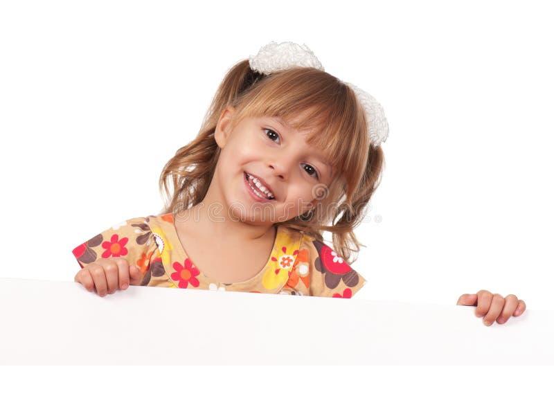 Meisje met witte raad royalty-vrije stock foto