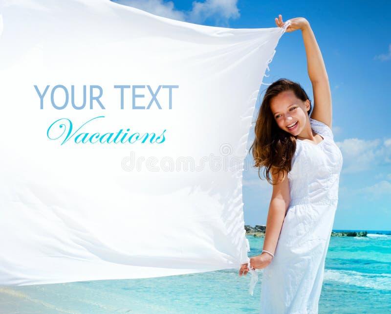 Meisje met Witte Sjaal. Tekst stock fotografie