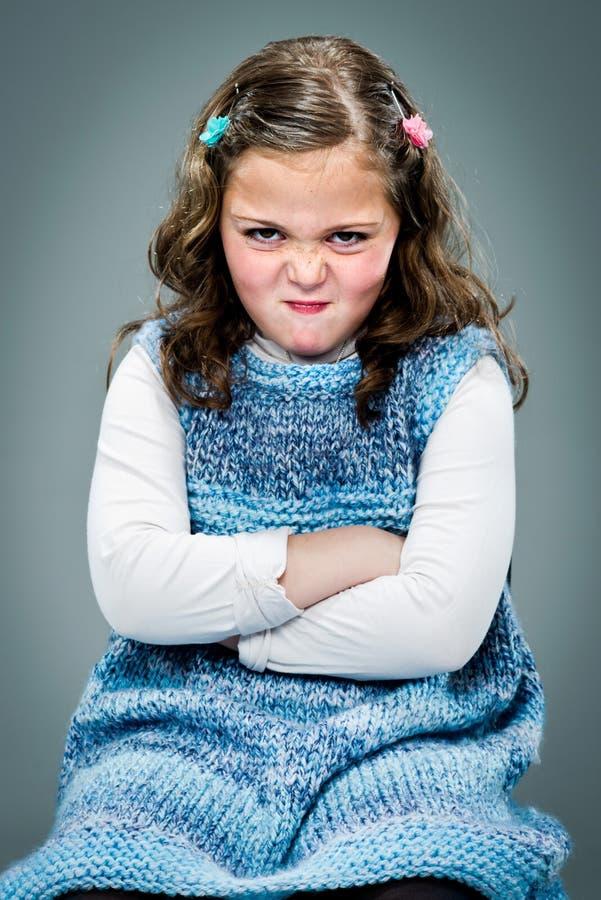 Meisje met Woedende Uitdrukking stock foto