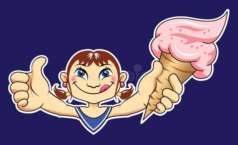 Download Meisje met Yummy Roomijs vector illustratie. Illustratie bestaande uit dekking - 29509936