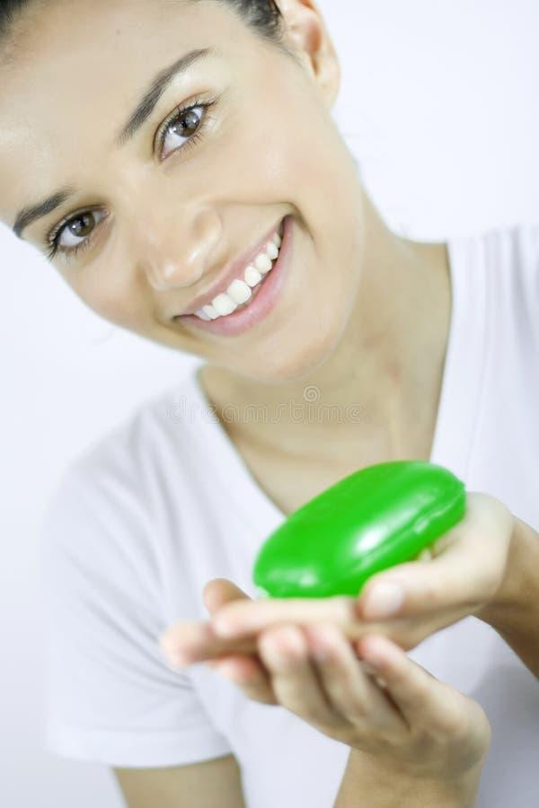 Meisje met zeep royalty-vrije stock foto