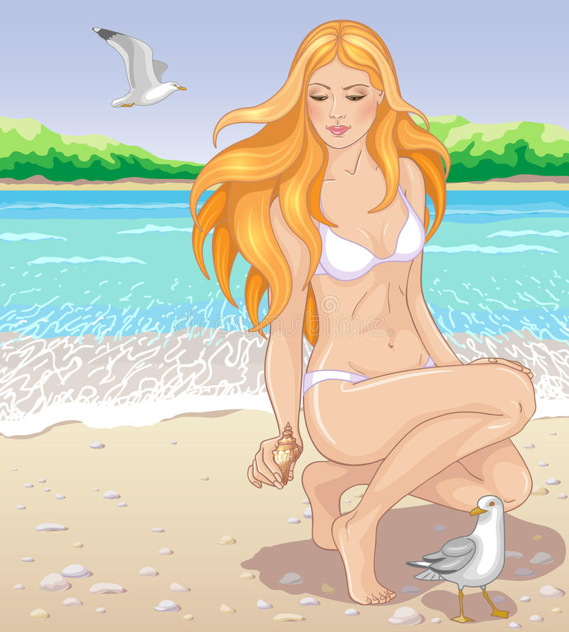 Meisje met zeeschelp stock illustratie