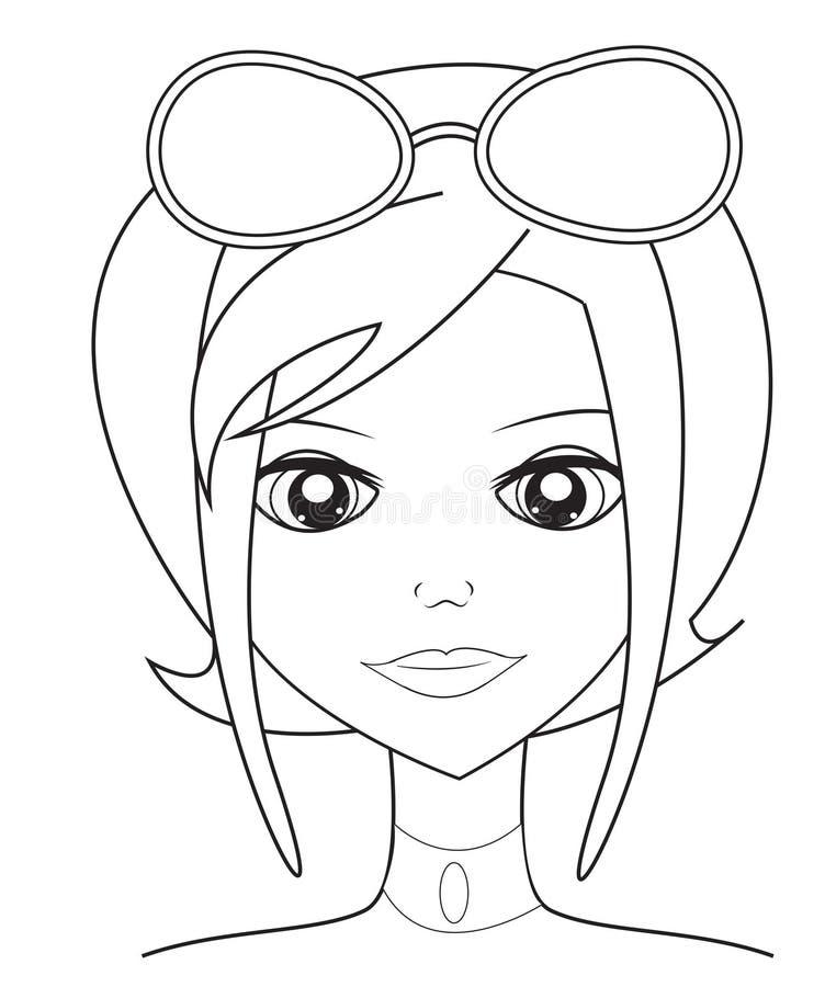 Meisje met zonnebril die pagina kleuren stock illustratie