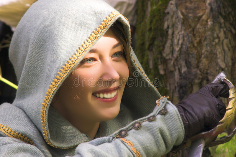 Meisje met zwaard stock foto