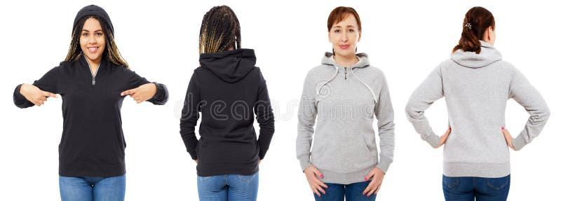 Meisje in modieuze zwarte die hoodie op witte achtergrond wordt geïsoleerd: meisje in grijze geïsoleerde kap voor en achtermening royalty-vrije stock afbeelding